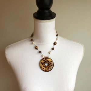 NWT Macy's Leopard Print Statement Necklace